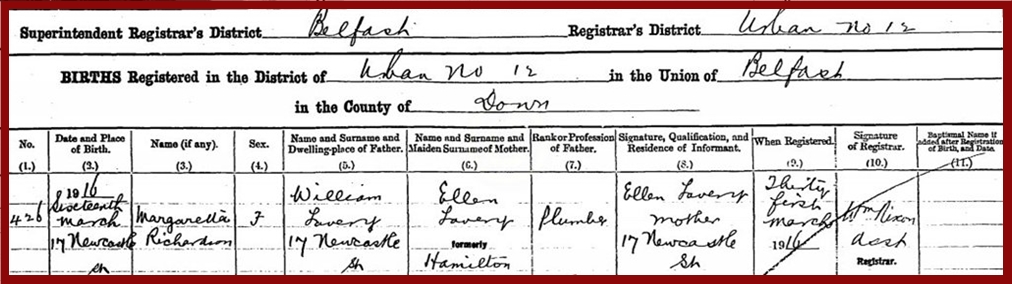 birth-16-03-1916-17-newcastle-street-margaretta-richardson-lavery-father-william-lavery-mother-ellen-lavery-born-hamilton.