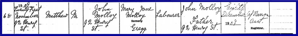 My Father's Brother - Birth Entry - 21 Nov 1909.