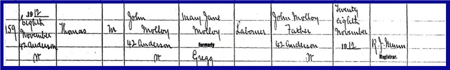 My Father'd Brother Thomas Birth Entry 8 Nov 1912