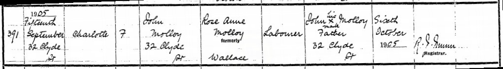 Birth of Charlotte Molloy 15 September 1905