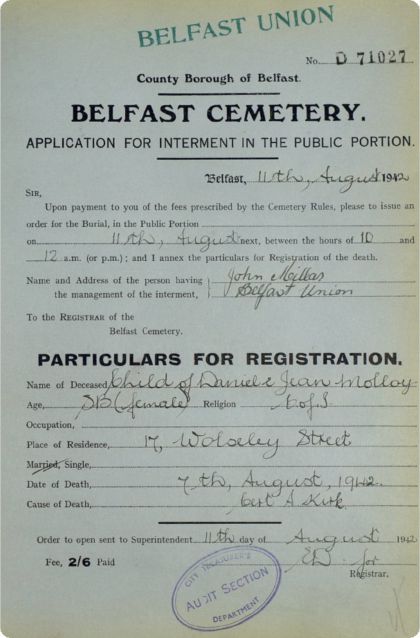 burial-application-STILL-BORN-FEMALE-CHILD-of-daniel-and-jean-molloy-07-08-1942.