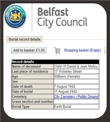burial-record-CHILD-of-DANIEL-and-JEAN-MOLLOY-17-WOLSELEY-STREET-belfast-stillborn-female-07081942-my-sister.
