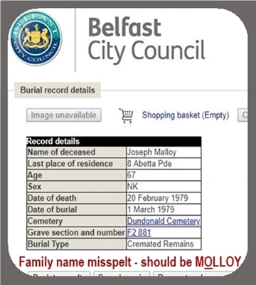 Burial record of my father's brother Joseph Molloy.